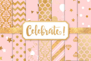 Download Free Soft Pink Celebrate Gold Digital Paper Set Graphic By Amanda for Cricut Explore, Silhouette and other cutting machines.