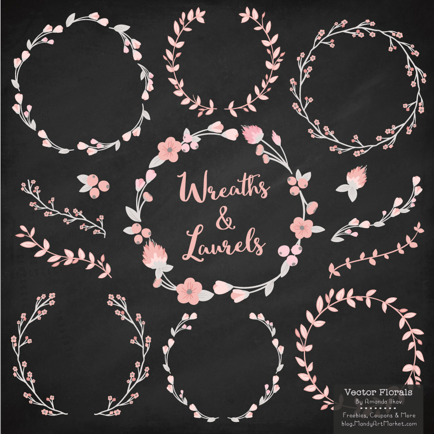 Download Free Soft Pink W Grey Floral Laurals And Wreaths Graphic By Amanda for Cricut Explore, Silhouette and other cutting machines.