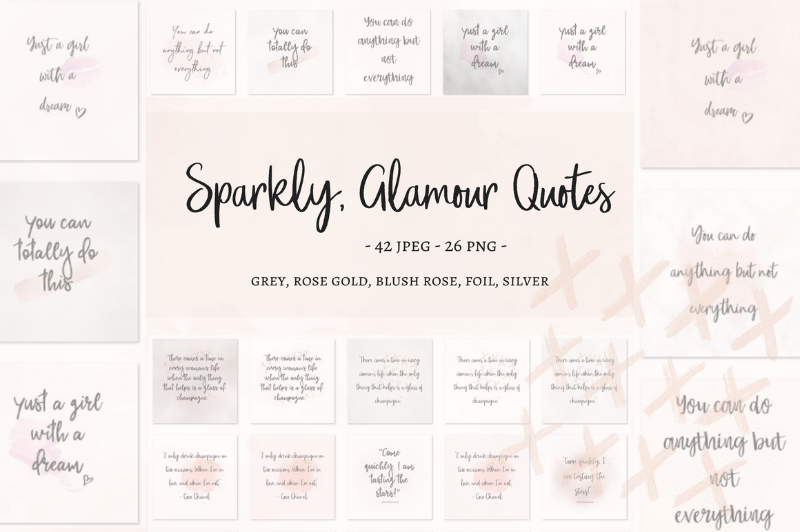 Sparkly, Glamour Quotes Graphic Illustrations By Creative Stash