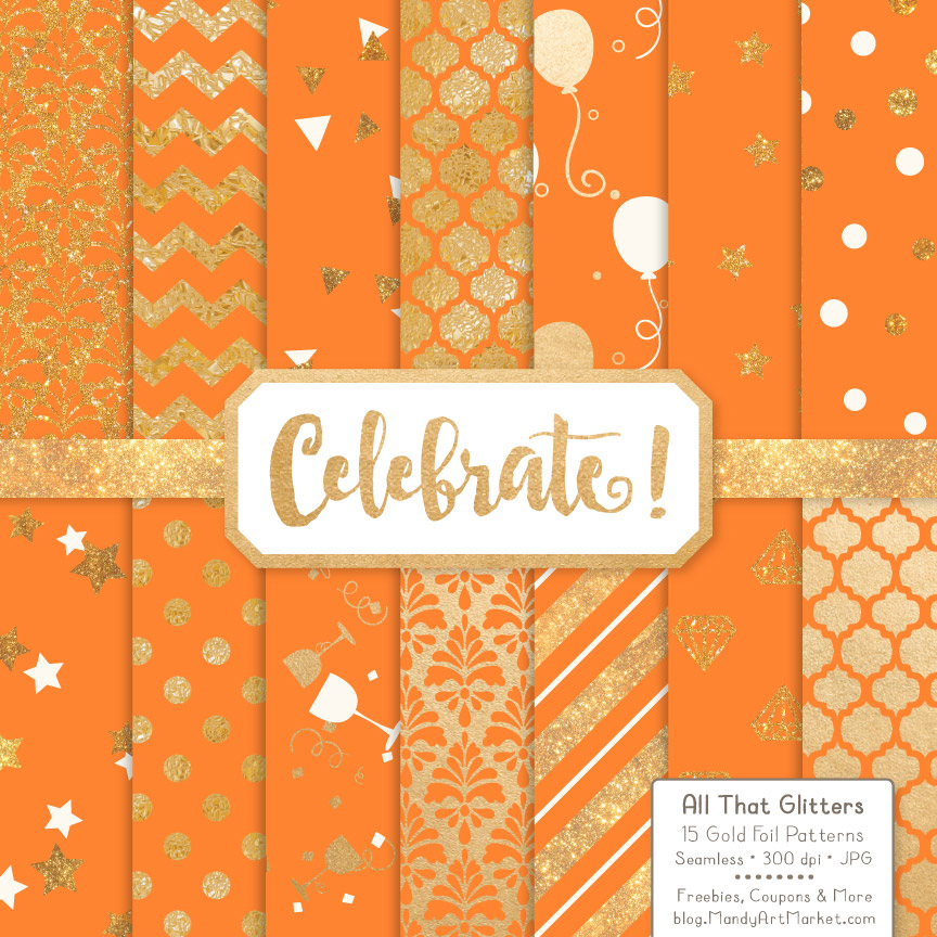 Download Free Tangerine Celebrate Gold Digital Paper Set Graphic By Amanda for Cricut Explore, Silhouette and other cutting machines.