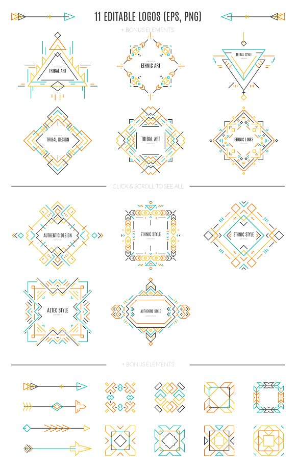Download Free Tribal Line Logos Badges Templates Graphic By Favete Art for Cricut Explore, Silhouette and other cutting machines.