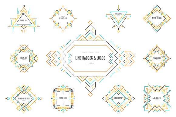Tribal Line Logos & Badges Templates Graphic Logos By Favete Art