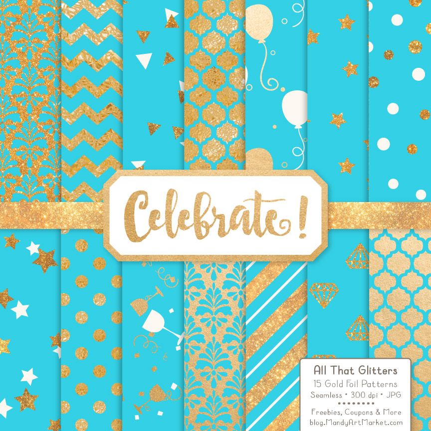 Download Free Aqua Celebrate Gold Digital Paper Set Graphic By Amanda Ilkov for Cricut Explore, Silhouette and other cutting machines.