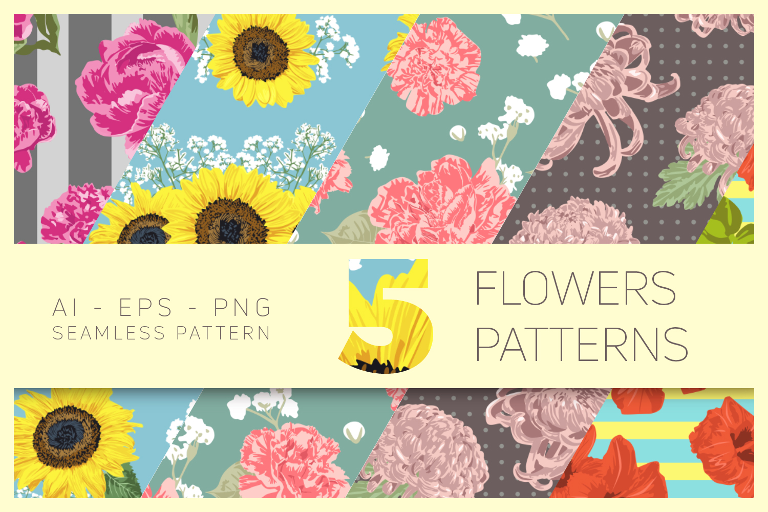 Vector Flowers Seamless Pattern Set Graphic By Nasir Udin