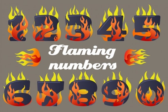 Vector Icons Set of Flaming Numbers Graphic Illustrations By nomadharley