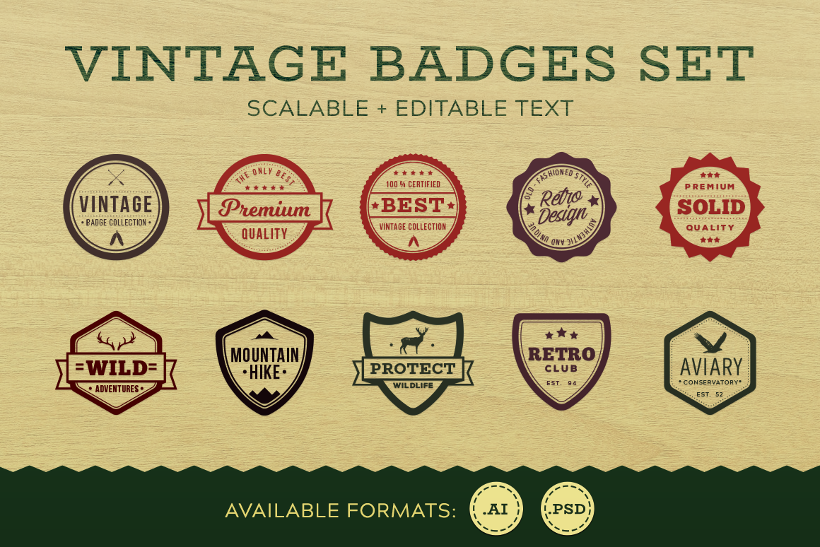 Download Free Vintage Badges Outline Graphic By The Stock Croc Creative Fabrica for Cricut Explore, Silhouette and other cutting machines.