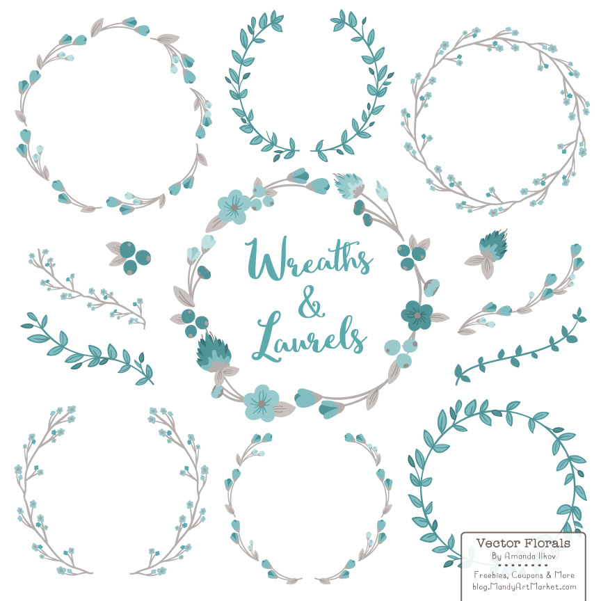 Download Free Vintage Blue Floral Laurals And Wreaths Grafico Por Amanda Ilkov for Cricut Explore, Silhouette and other cutting machines.