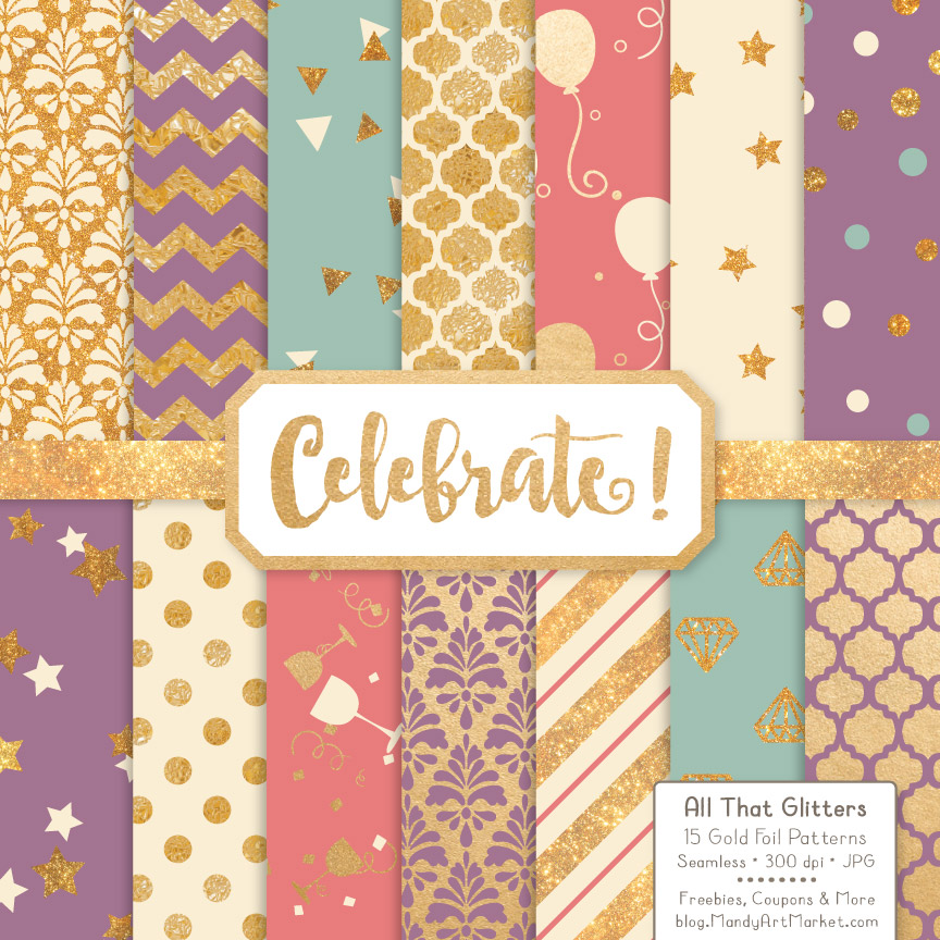 Vintage Celebrate Gold Digital Paper Set Graphic Patterns By Amanda Ilkov