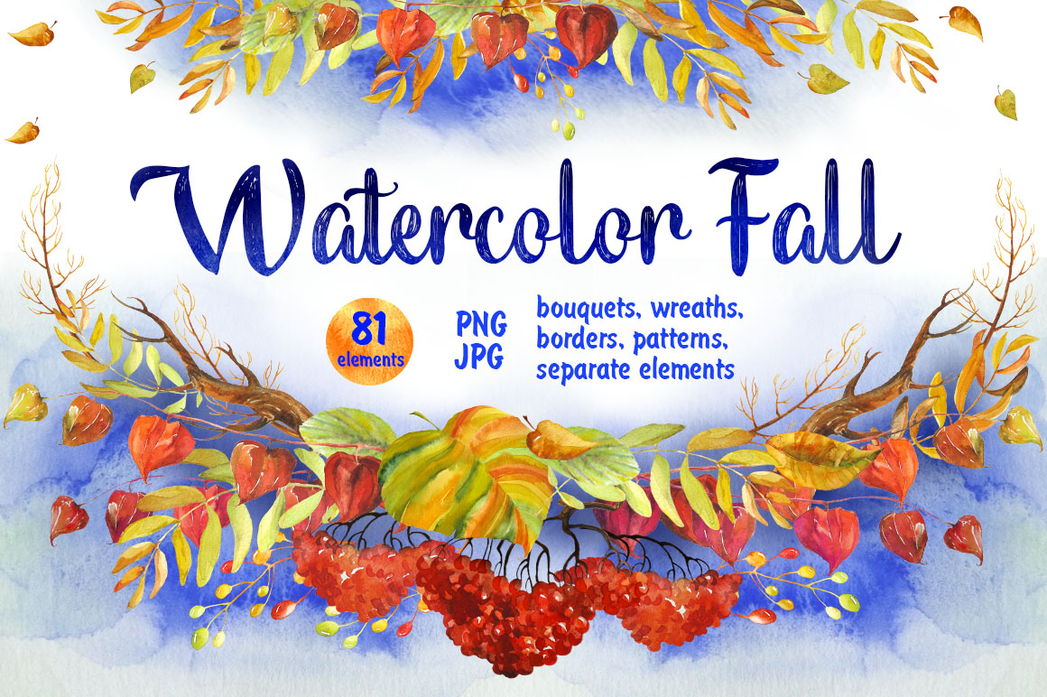 Print on Demand: Watercolor Fall Floral Clip Art Graphic Illustrations By Iradvilyuk