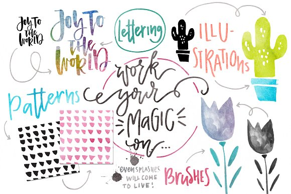 Watercolor Magic - Design Kit Graphic Layer Styles By Favete Art - Image 5