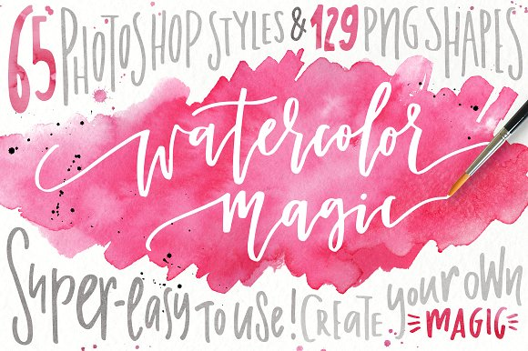 Watercolor Magic - Design Kit Graphic Layer Styles By Favete Art