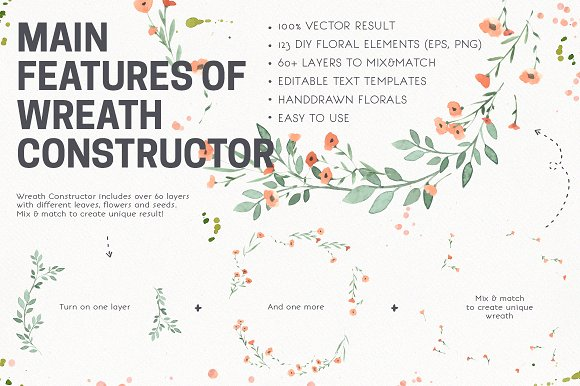 Download Free Watercolor Vector Wreath Constructor Graphic By Favete Art SVG Cut Files