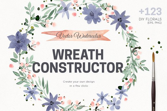 Watercolor Vector Wreath Constructor Graphic Illustrations By Favete Art
