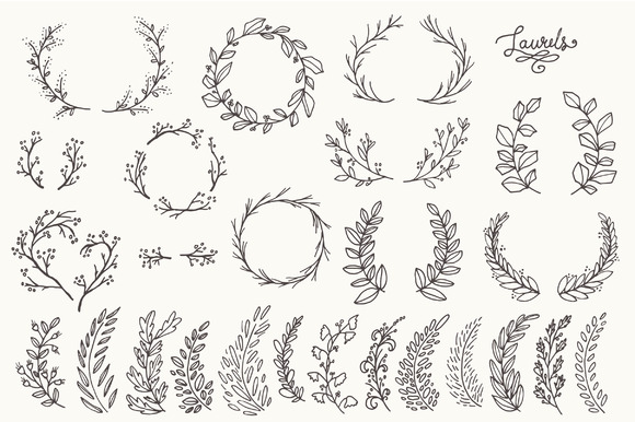 Download Free Whimsical Laurels And Wreaths Graphic By The Pen And Brush for Cricut Explore, Silhouette and other cutting machines.