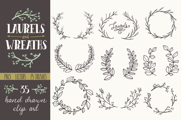 Whimsical Laurels and Wreaths Graphic Illustrations By The Pen and Brush