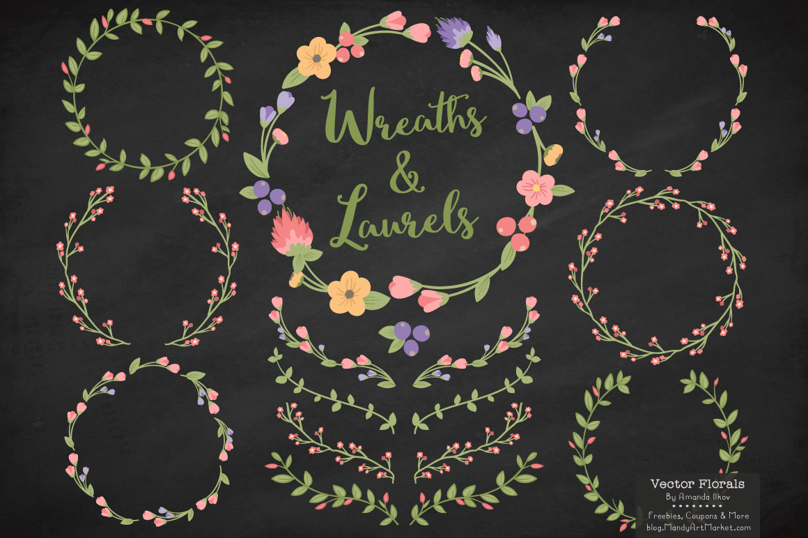 Wildflowers Floral Laurals and Wreaths Graphic Illustrations By Amanda Ilkov