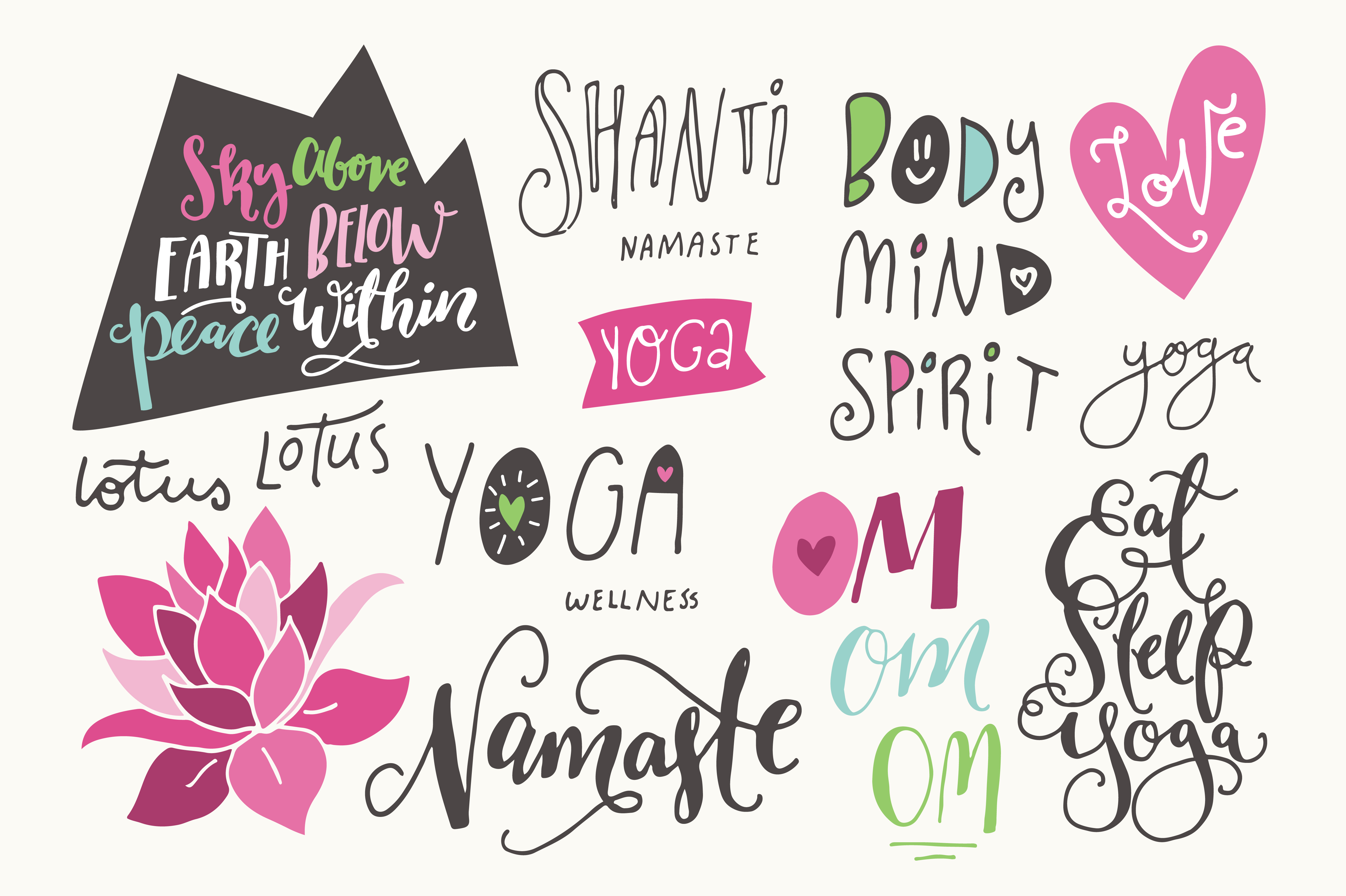 Yoga Phrases & Lotus Flowers Graphic Illustrations By The Pen and Brush