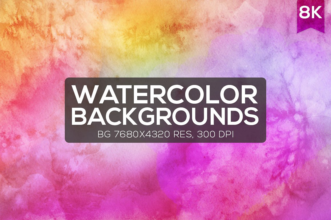 Print on Demand: 12 Watercolor 8K Backgrounds Graphic Backgrounds By Creative Tacos