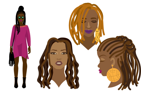 African Women with Dreads Designs & Drawings Craft Cut File By Creative Fabrica Crafts