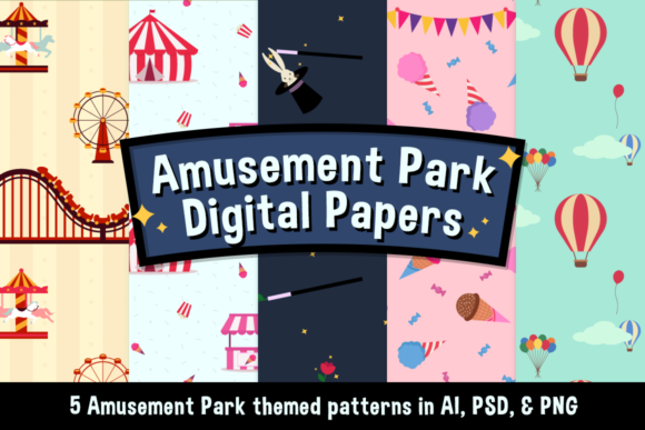 Download Free Amusement Park Digital Papers Creative Fabrica for Cricut Explore, Silhouette and other cutting machines.