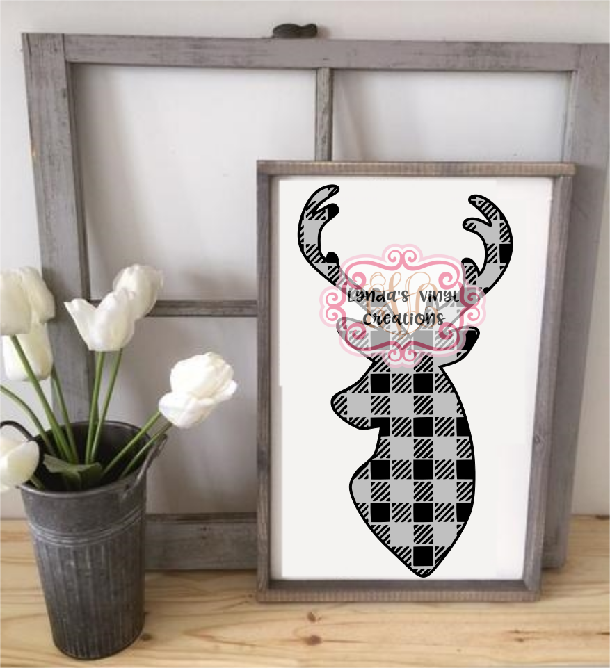 Download Free Buffalo Plaid Deer Svg Eps Dxf Studio File Graphic By Lynda S for Cricut Explore, Silhouette and other cutting machines.