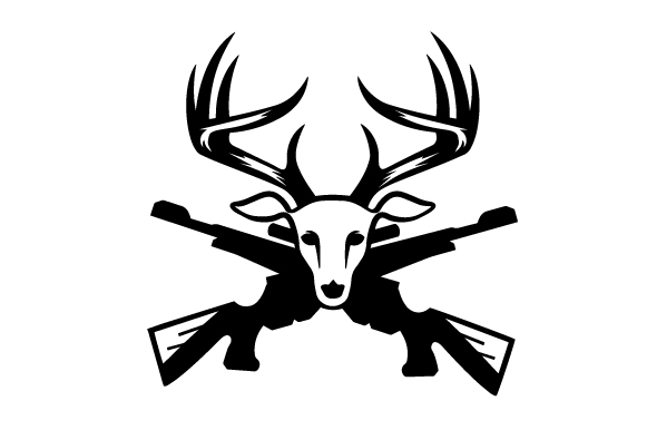 Download Free Deer Head Front With Rifles Svg Cut File By Creative Fabrica for Cricut Explore, Silhouette and other cutting machines.