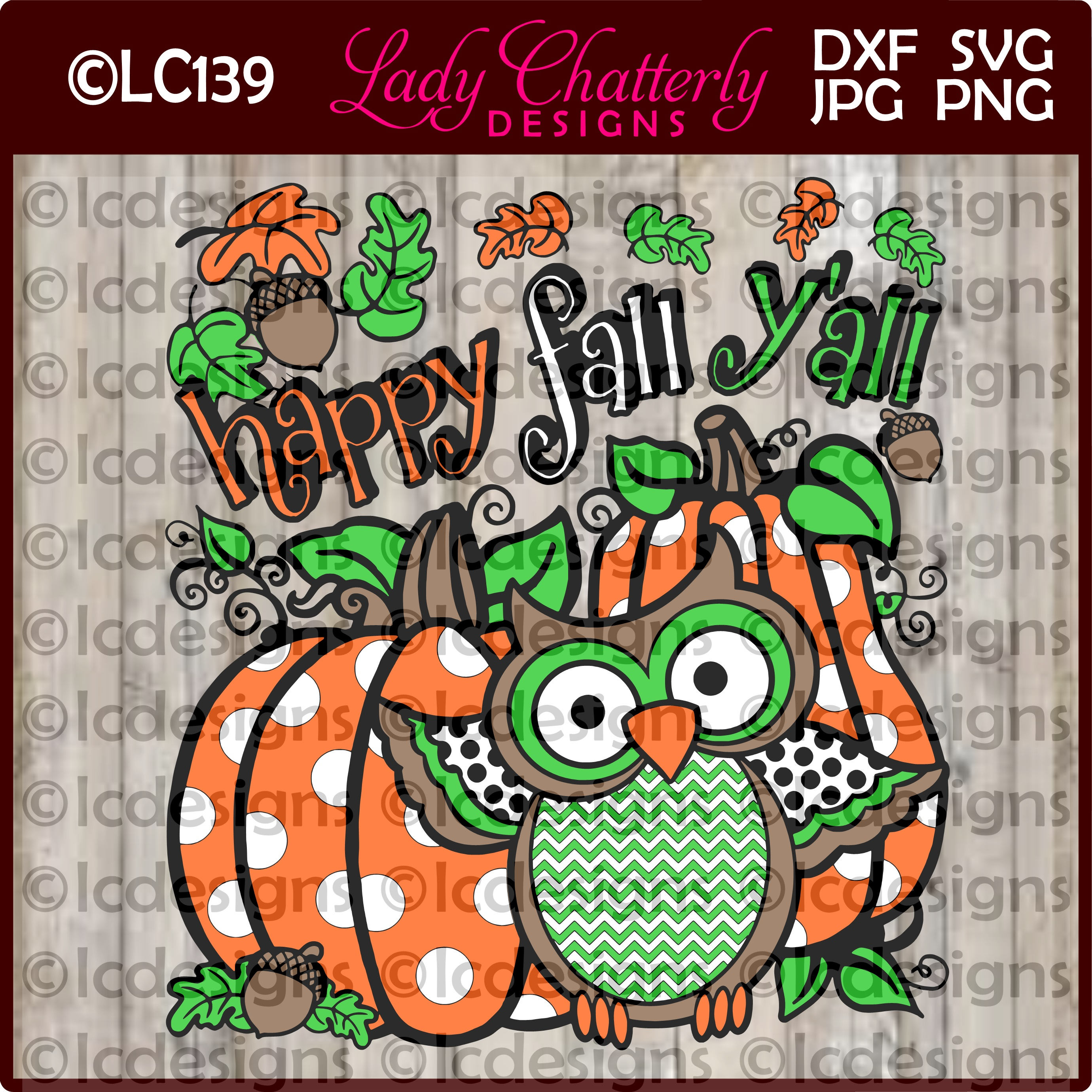 Happy Fall Y'all Cute Owl Design Graphic Crafts By Lady Chatterly Designs