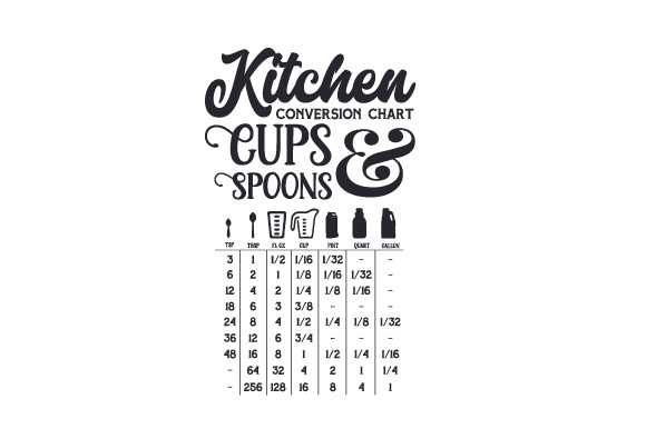 Download Kitchen Conversion Chart Cups and Spoons SVG Cut file by ...