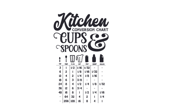 Download Free Kitchen Conversion Chart Cups And Spoons Svg Cut File By for Cricut Explore, Silhouette and other cutting machines.