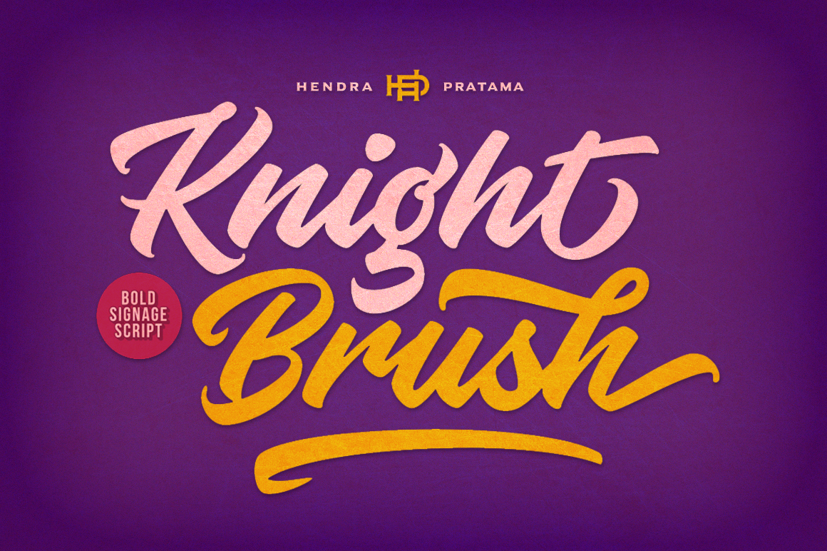 Print on Demand: Knight Brush Script & Handwritten Font By hptypework