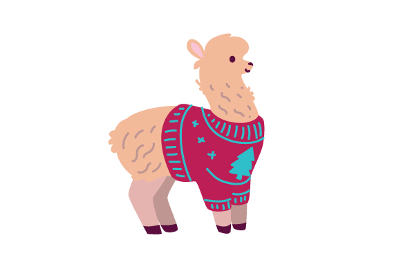 Llama with Ugly Christmas Sweater Craft Design By Creative Fabrica Crafts