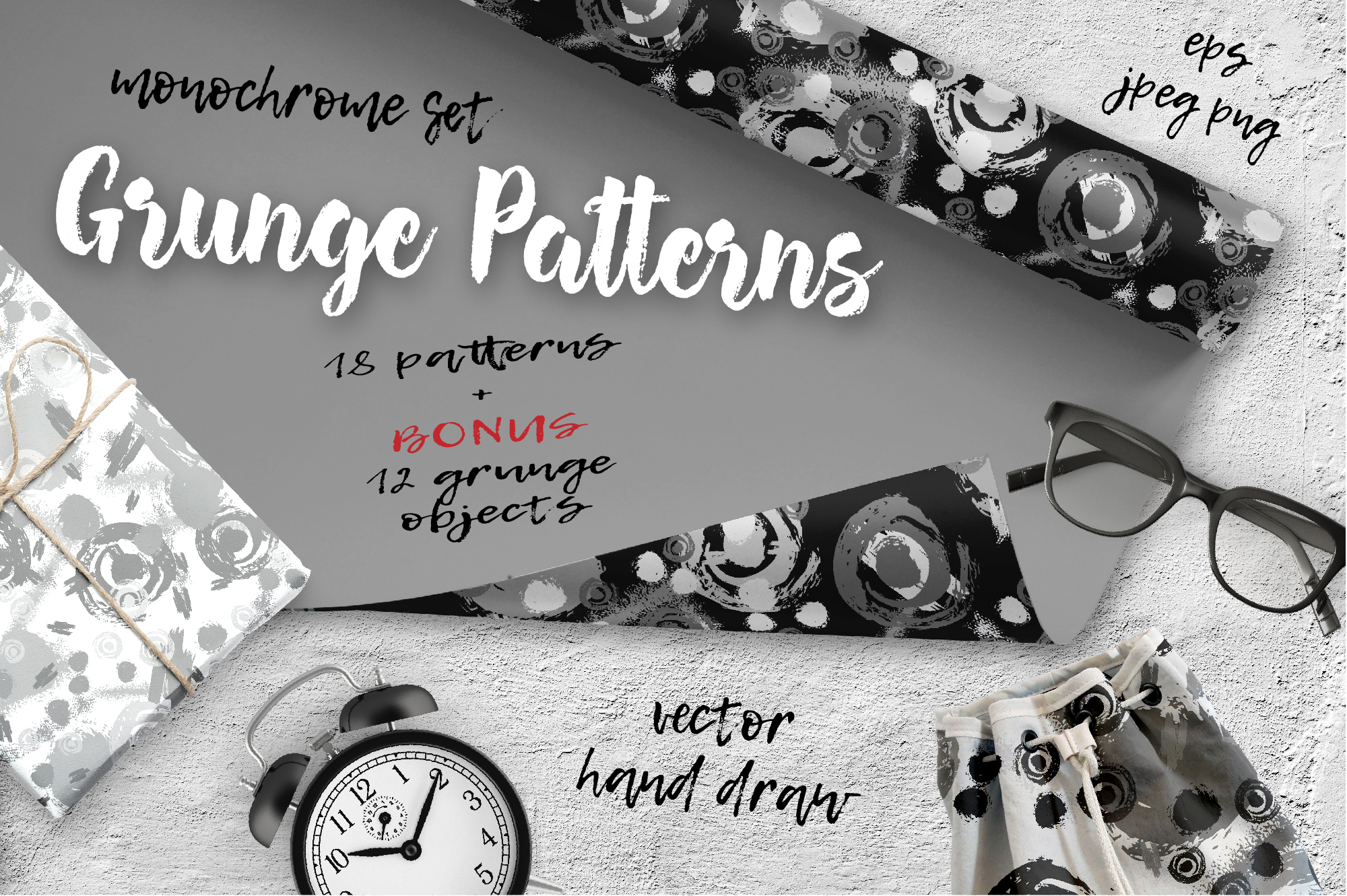 Print on Demand: Monochrome Patterns Set Graphic Patterns By nicjulia