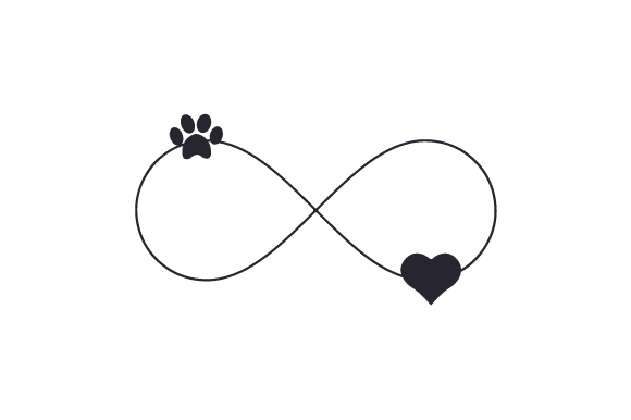 Paw Print and Heart Infinity Sign Dogs Craft Cut File By Creative Fabrica Crafts - Image 1