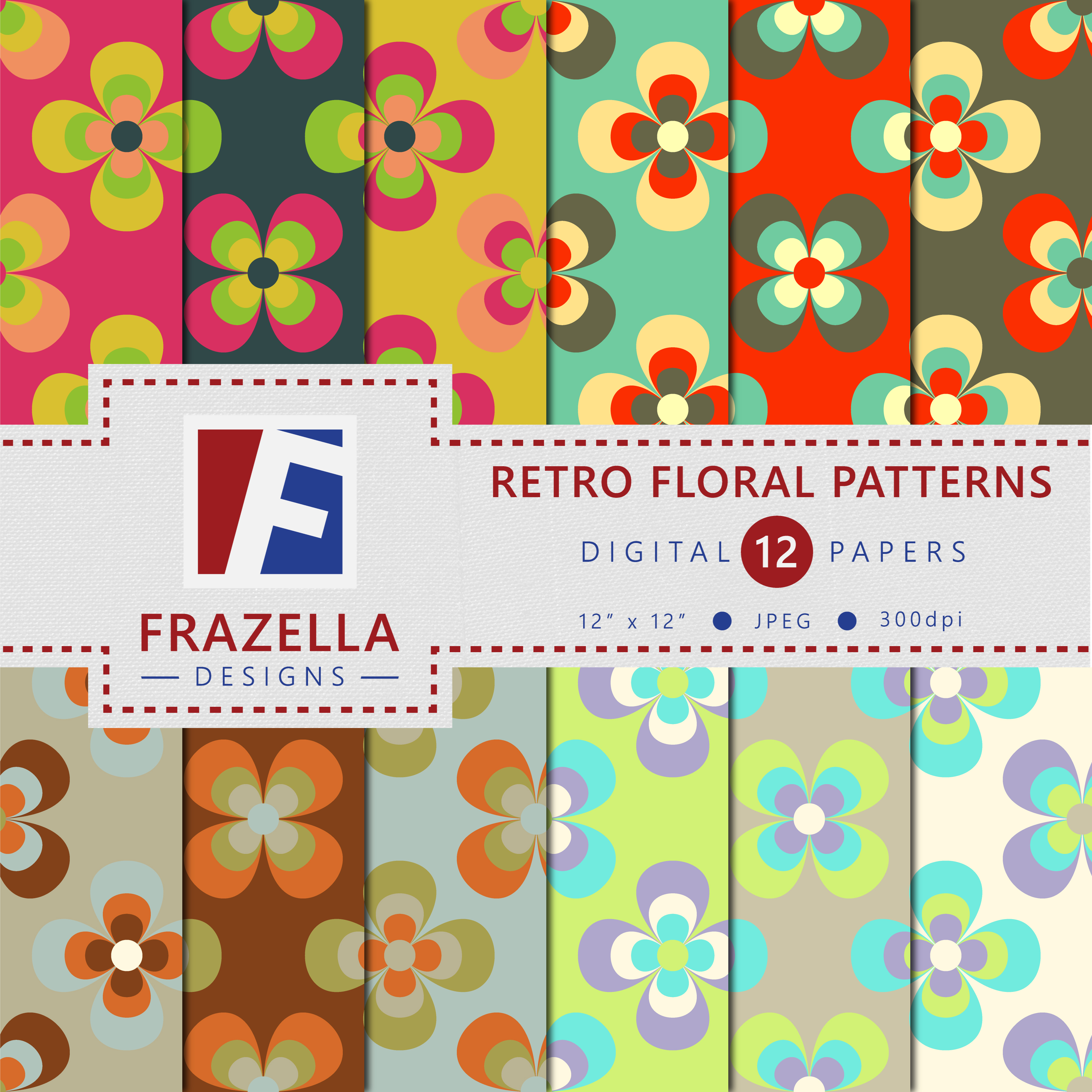 Download Free Retro Floral Design Digital Paper Graphic By Frazella Designs for Cricut Explore, Silhouette and other cutting machines.