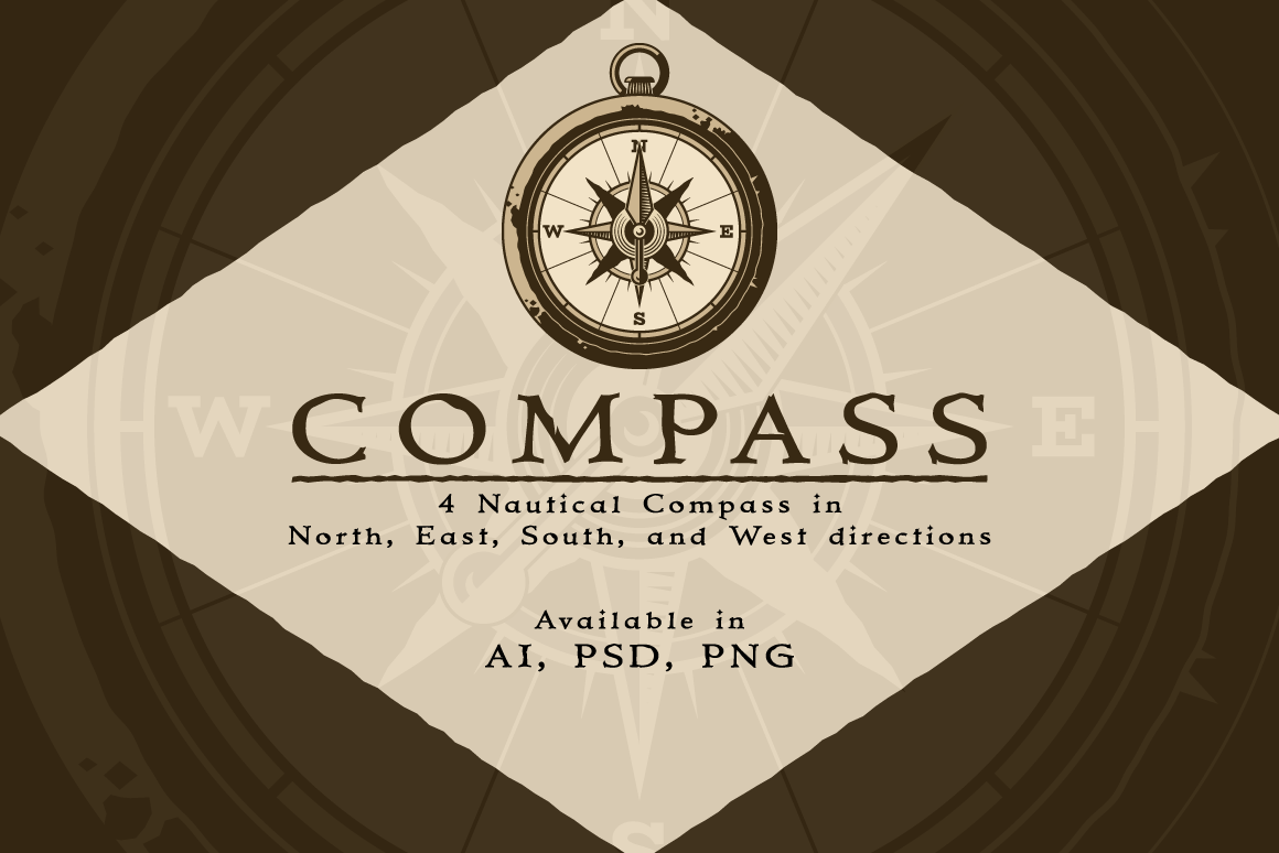 Set With 4 Compass Designs Graphic By The Stock Croc Creative