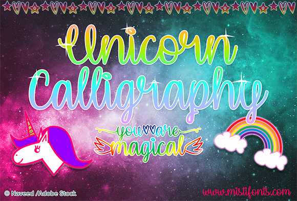 Print on Demand: Unicorn Calligraphy Manuscrita Fuente Por Misti