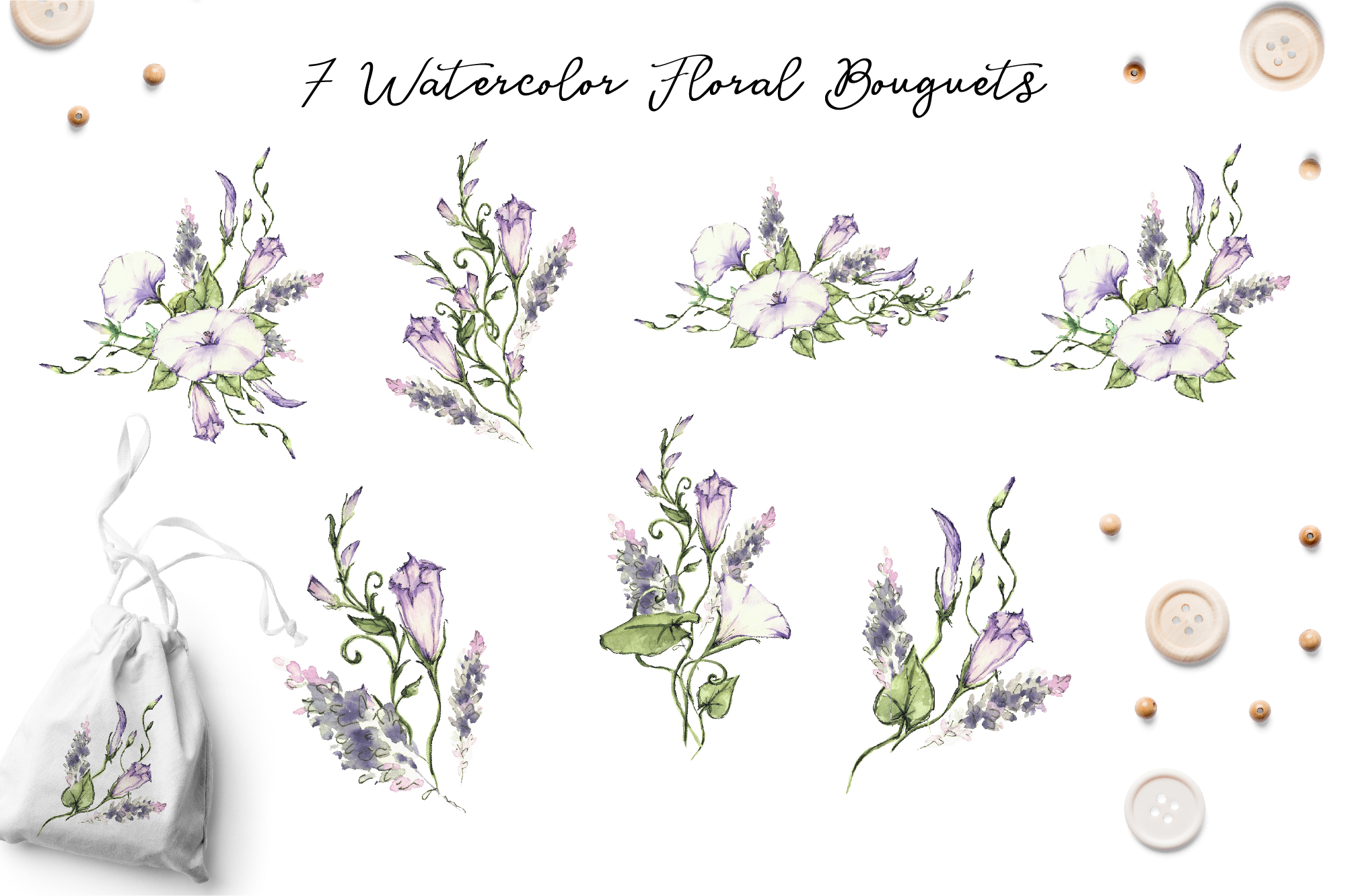 Print on Demand: Watercolor Flower Clip Art – Morning-Glory Graphic Illustrations By nicjulia - Image 6