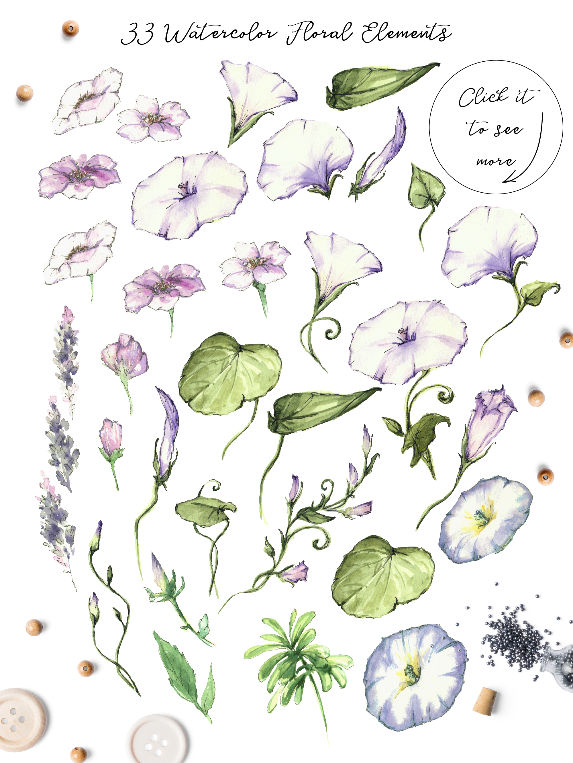 Print on Demand: Watercolor Flower Clip Art – Morning-Glory Graphic Illustrations By nicjulia - Image 7