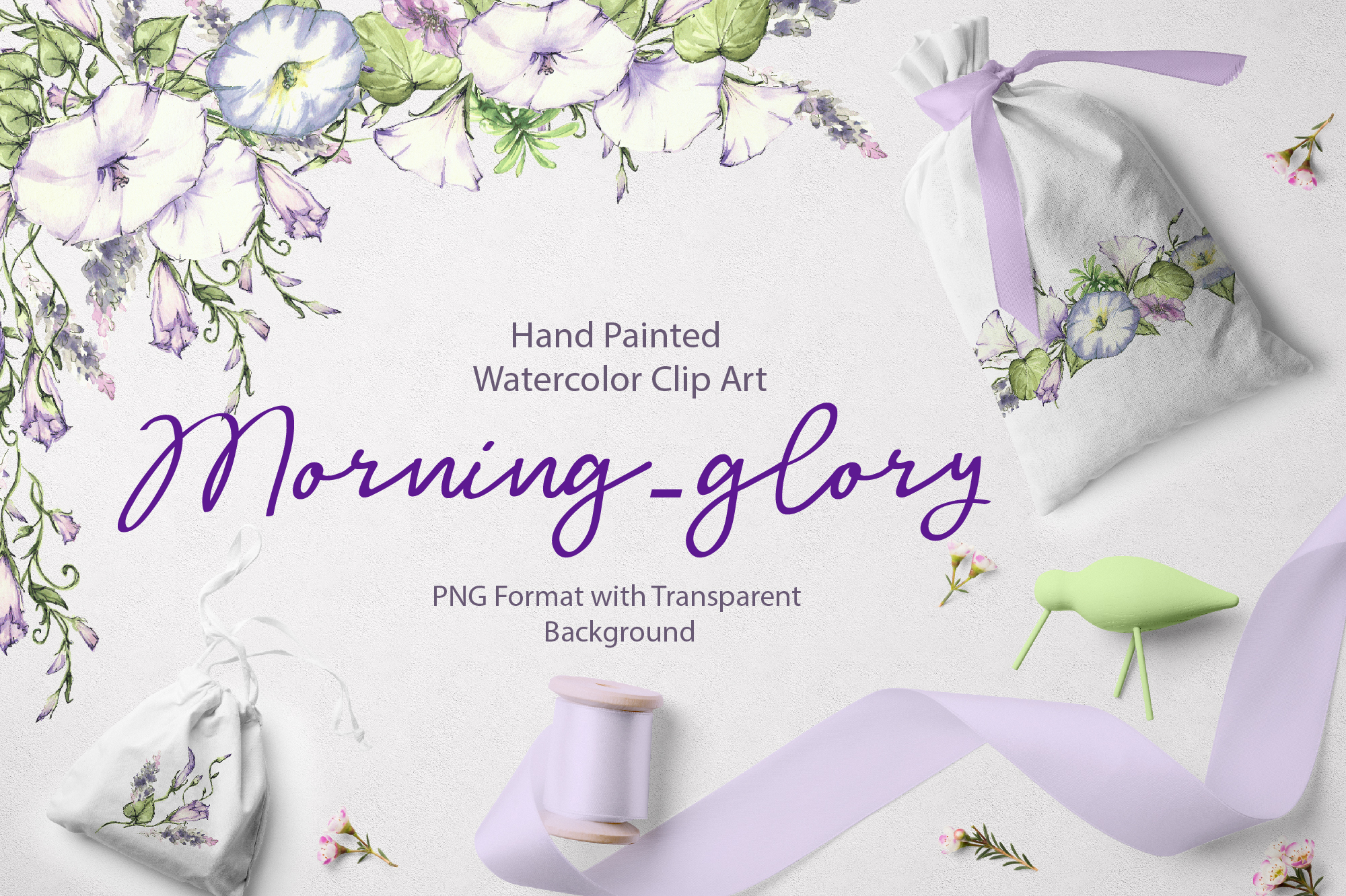 Print on Demand: Watercolor Flower Clip Art – Morning-Glory Graphic Illustrations By nicjulia