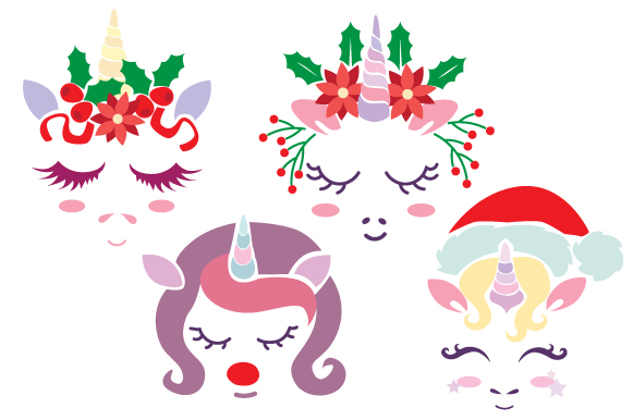 Christmas Unicorn Face Navidad Archivo de Corte Craft Por Creative Fabrica Crafts