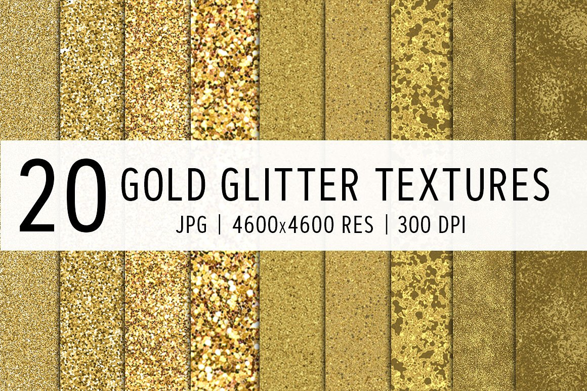 Print on Demand: 20 Gold Glitter Textures Grafik Texturen von Creative Tacos
