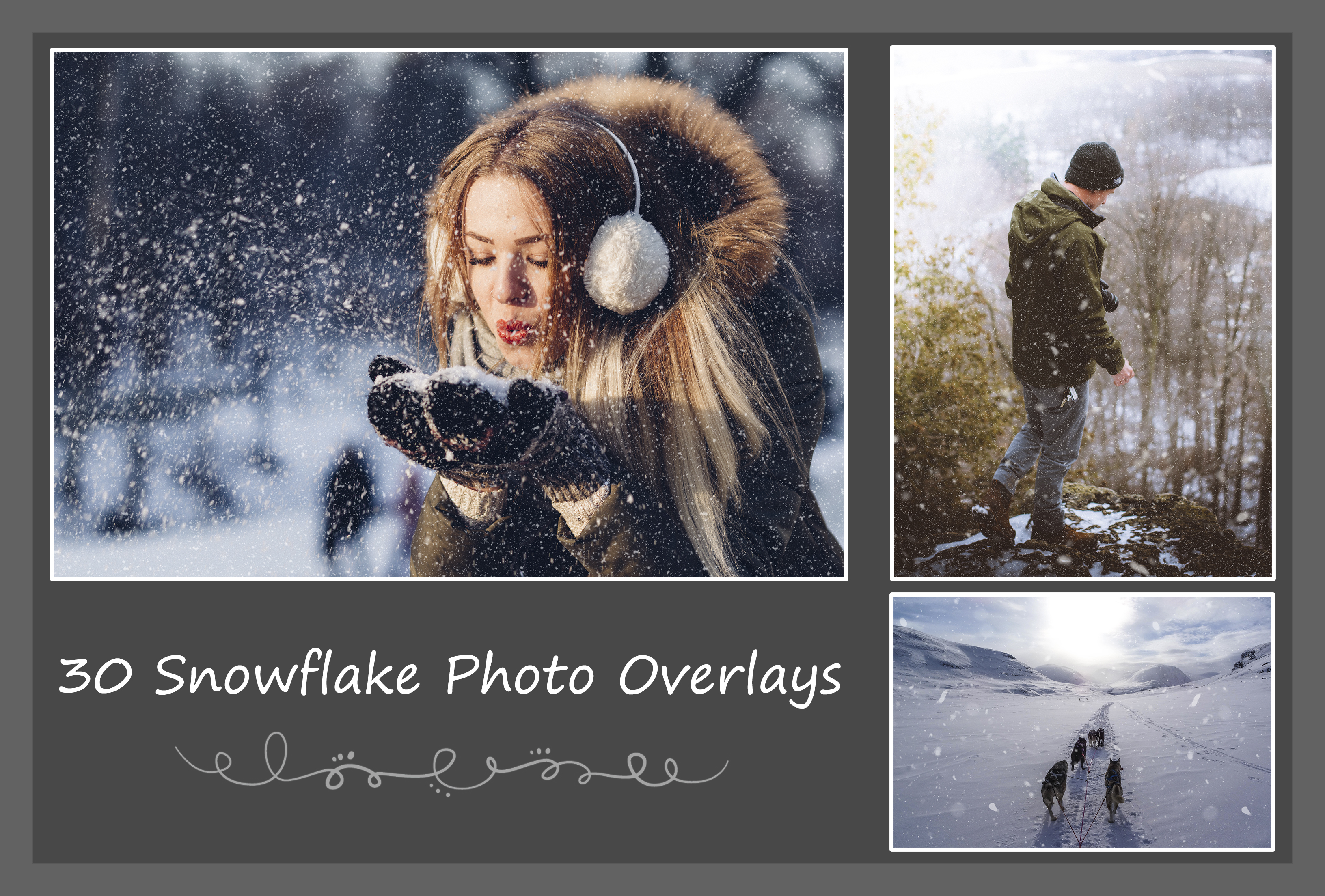 Print on Demand: 30 Snowflake Photo Overlays Graphic Textures By Eldamar Studio