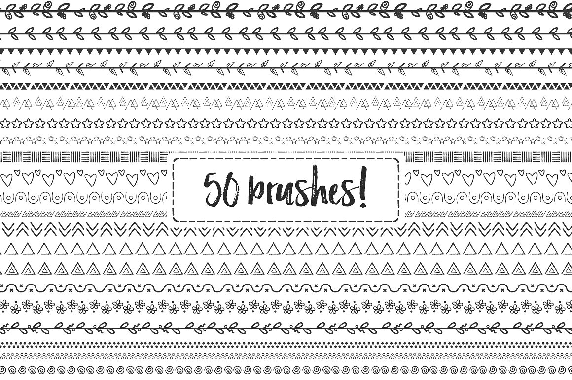 50 Doodle Hand Drawn Brushes Graphic By Latin Vibes Image 2