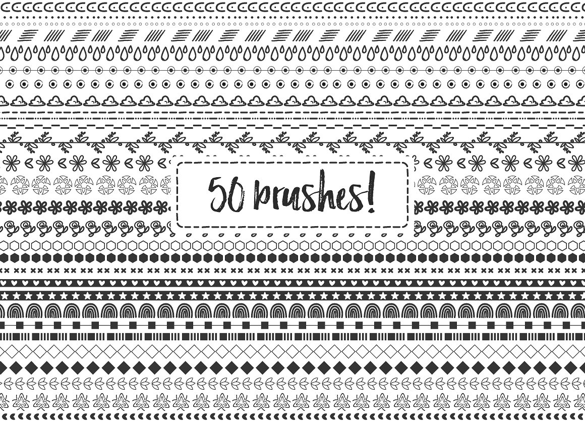 50 Doodle Hand Drawn Brushes Graphic By Latin Vibes Image 3