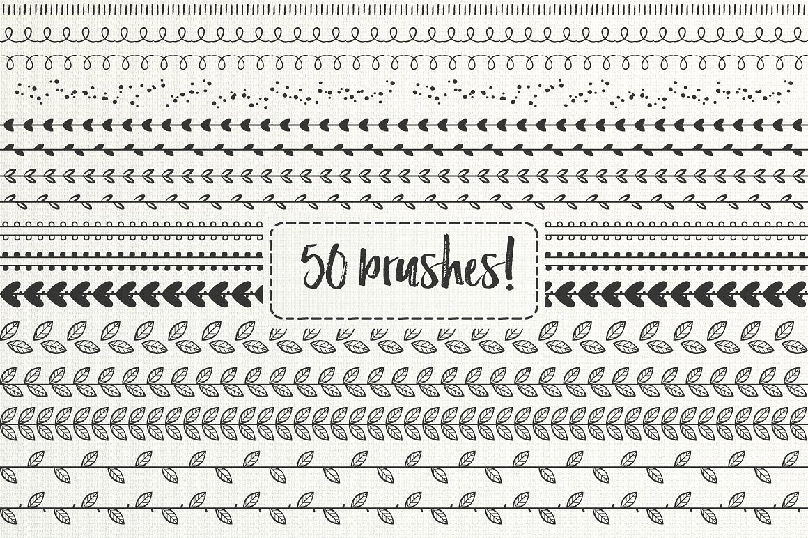 Print on Demand: 50 Hand Drawn Brushes, Part 2 - AI Graphic Brushes By Latin Vibes