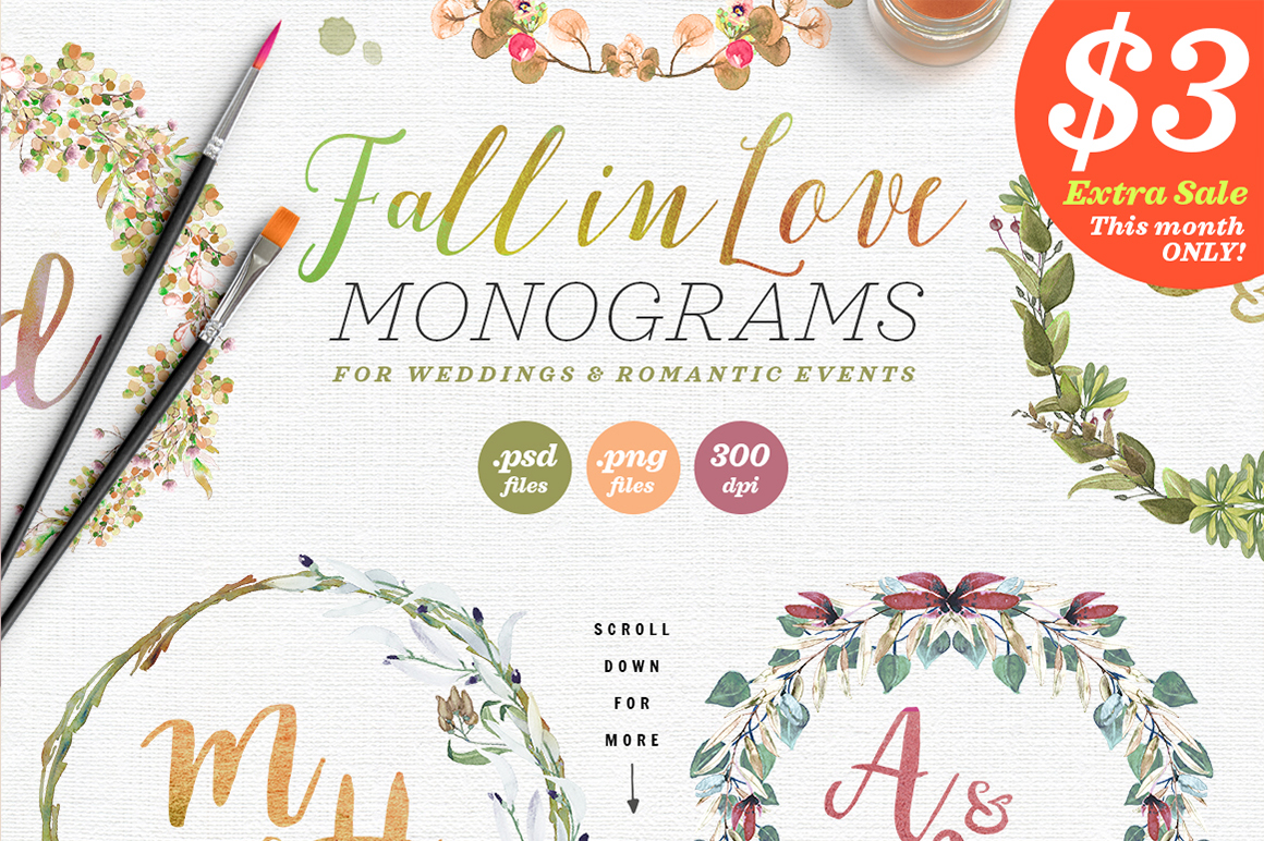 Print on Demand: 6 Fall in Love Wedding Monograms V Graphic Objects By lavie1blonde