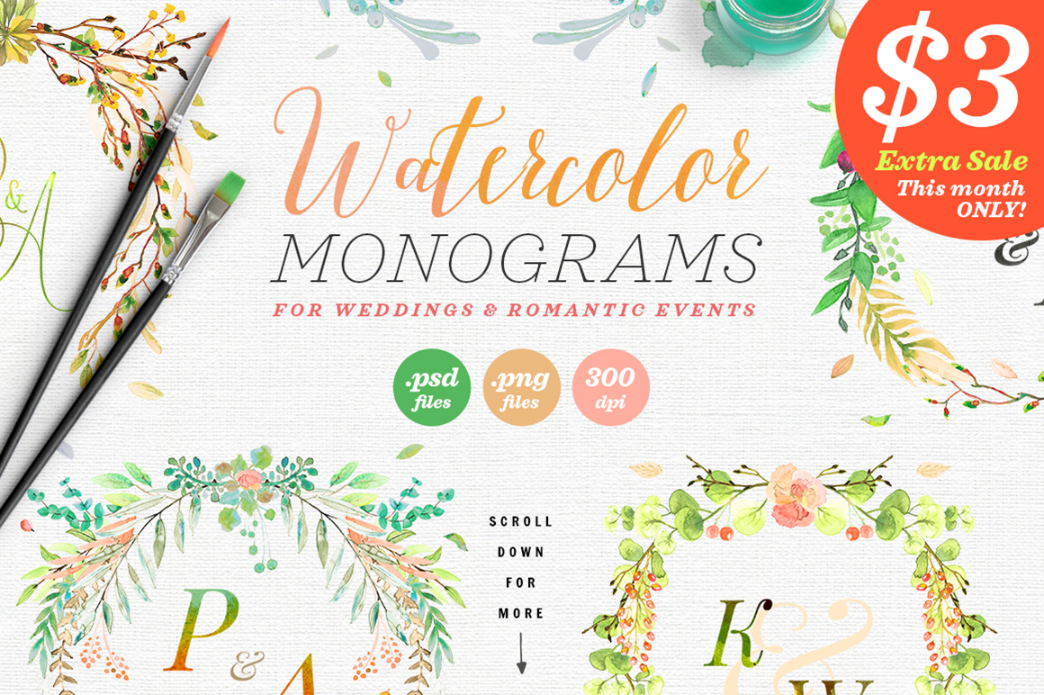 Print on Demand: 6 Watercolor Wedding Monograms III Grafik Objekte von lavie1blonde