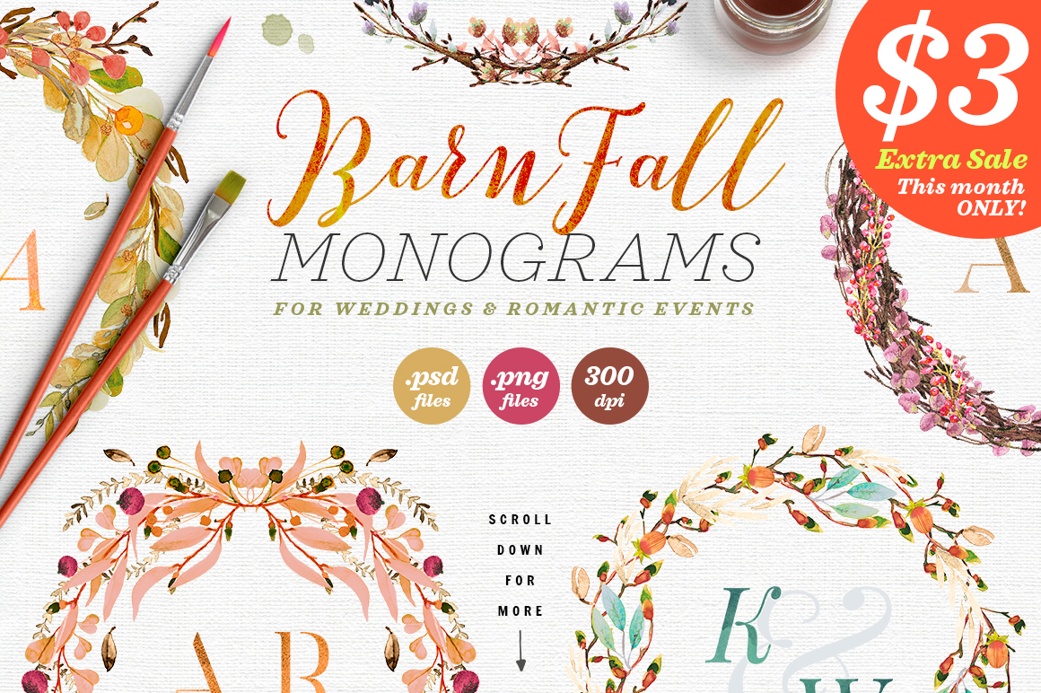 Print on Demand: 8 Barn Fall Wedding Monograms VII Graphic Objects By lavie1blonde