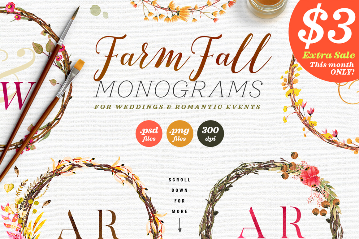 Print on Demand: 8 Farm Fall Wedding Monograms VIII Graphic Objects By lavie1blonde