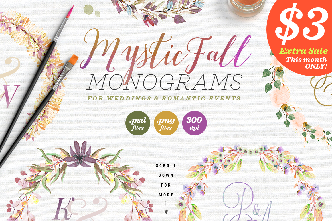 8 Mystic Fall Wedding Monograms VI Graphic Objects By lavie1blonde